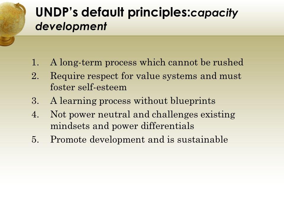 UNDP's default principles:capacity development