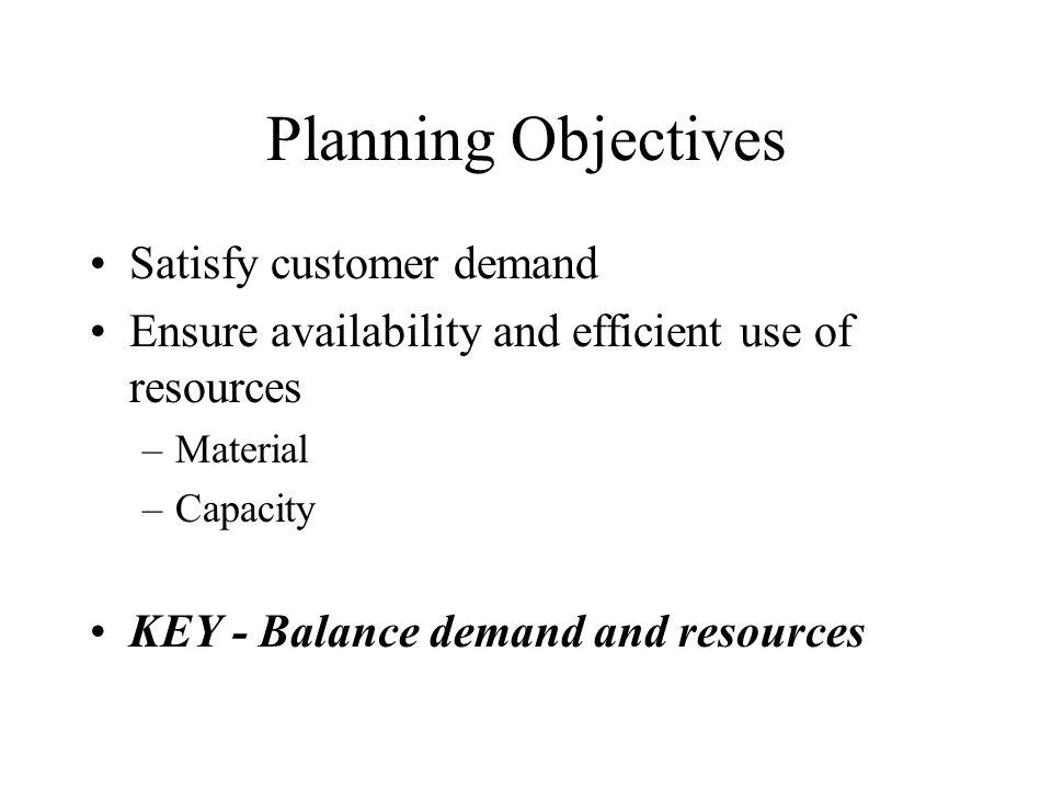 Planning Objectives Satisfy customer demand