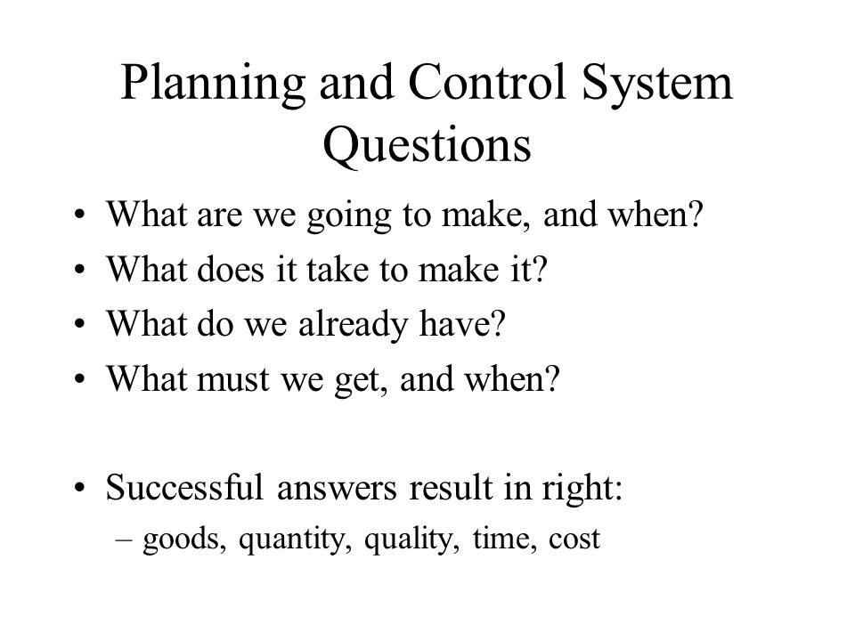Planning and Control System Questions