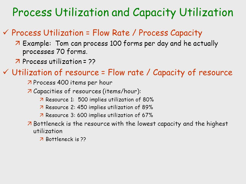 Process Utilization and Capacity Utilization