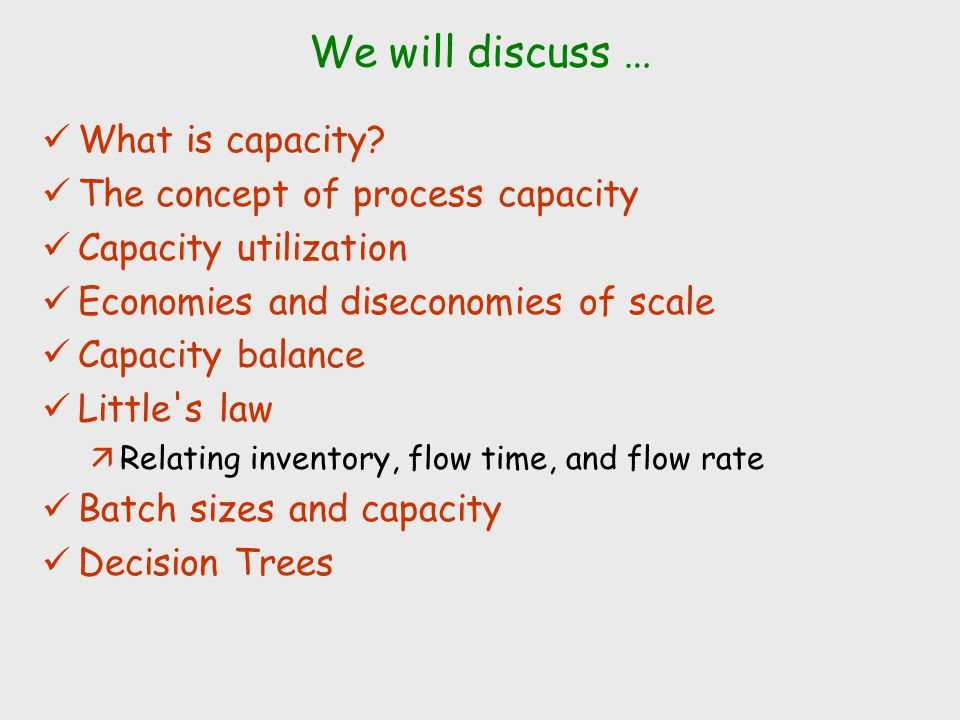 We will discuss … What is capacity The concept of process capacity