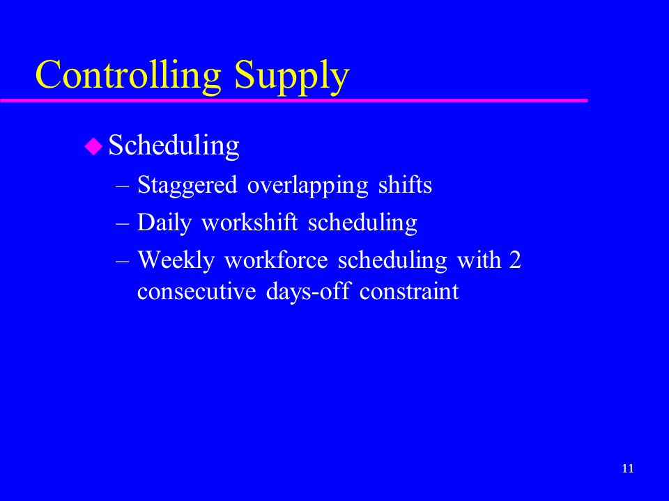 Controlling Supply Scheduling Staggered overlapping shifts