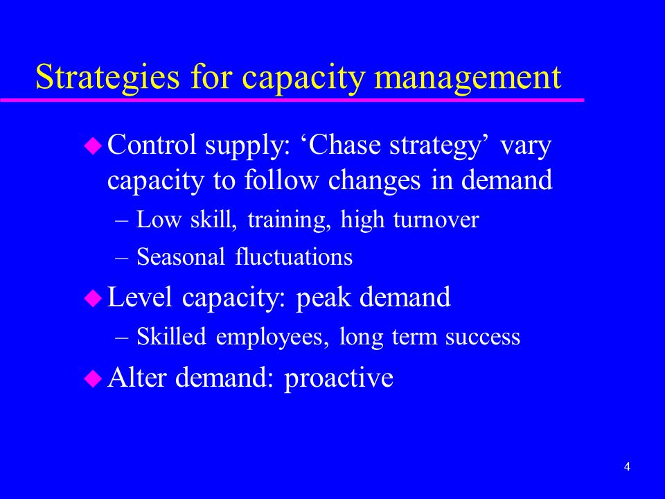 Strategies for capacity management