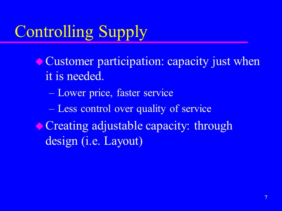 Controlling Supply Customer participation: capacity just when it is needed. Lower price, faster service.