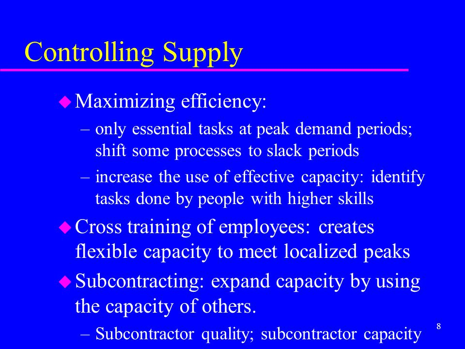 Controlling Supply Maximizing efficiency: