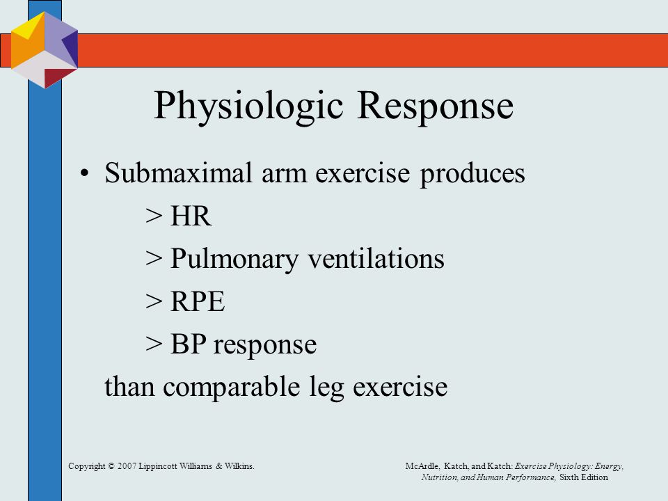 Physiologic Response Submaximal arm exercise produces > HR
