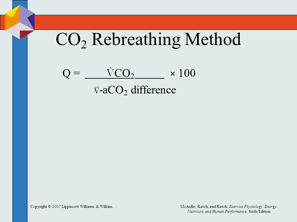 CO2 Rebreathing Method -aCO2 difference Q = CO2 × 100