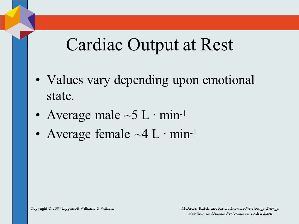 Cardiac Output at Rest Values vary depending upon emotional state.