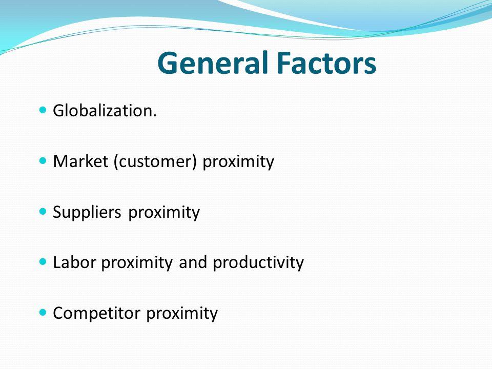 General Factors Globalization. Market (customer) proximity