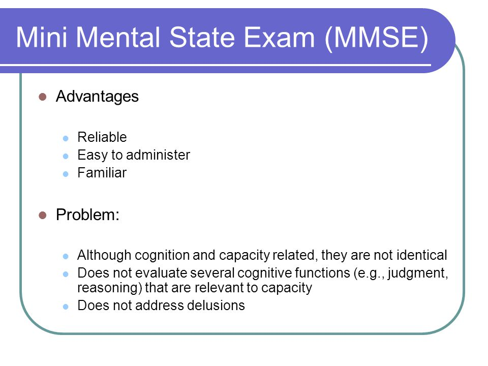 Mini Mental State Exam (MMSE)