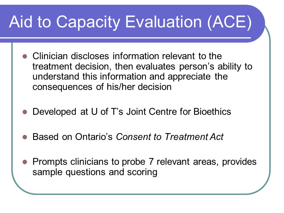 Aid to Capacity Evaluation (ACE)
