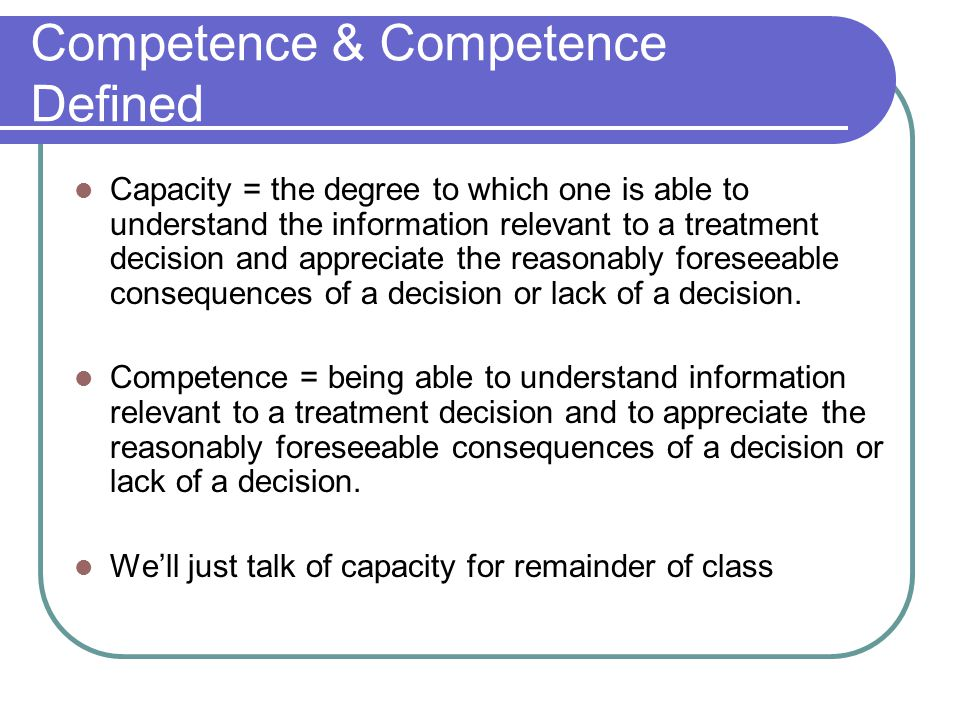 Competence & Competence Defined
