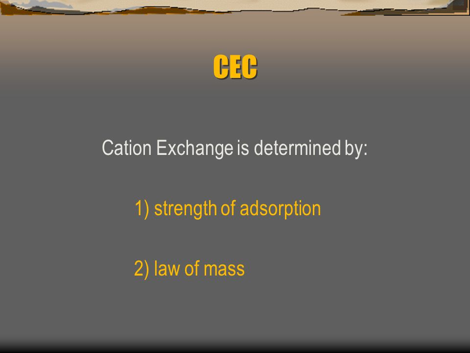 Cation Exchange is determined by: