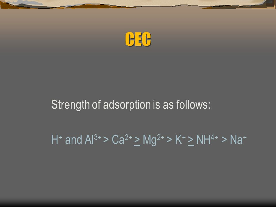 CEC Strength of adsorption is as follows: