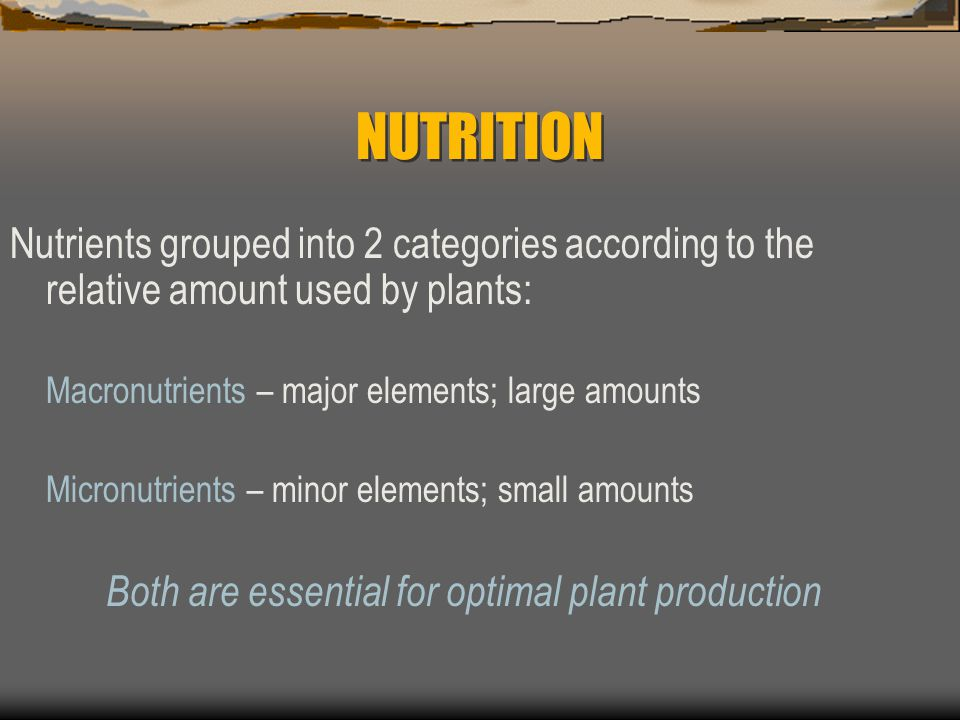 NUTRITION Nutrients grouped into 2 categories according to the relative amount used by plants: Macronutrients – major elements; large amounts.