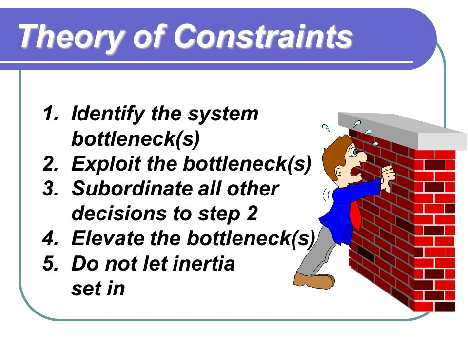 Theory of Constraints Identify the system bottleneck(s)