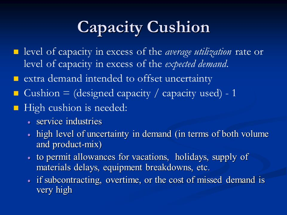 Capacity Cushion level of capacity in excess of the average utilization rate or level of capacity in excess of the expected demand.