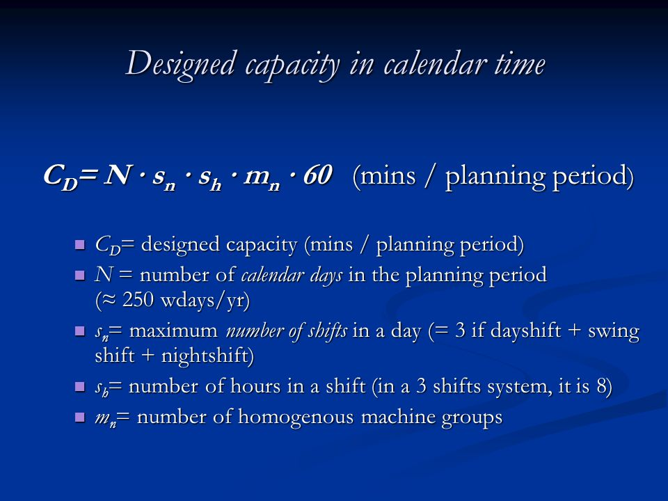 Designed capacity in calendar time