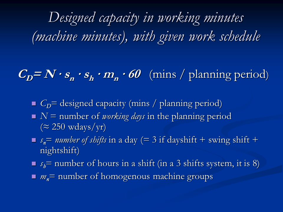 Designed capacity in working minutes (machine minutes), with given work schedule