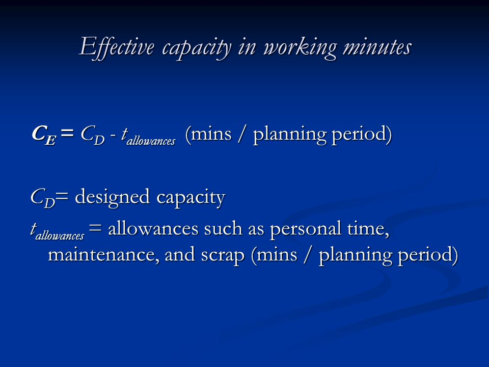 Effective capacity in working minutes