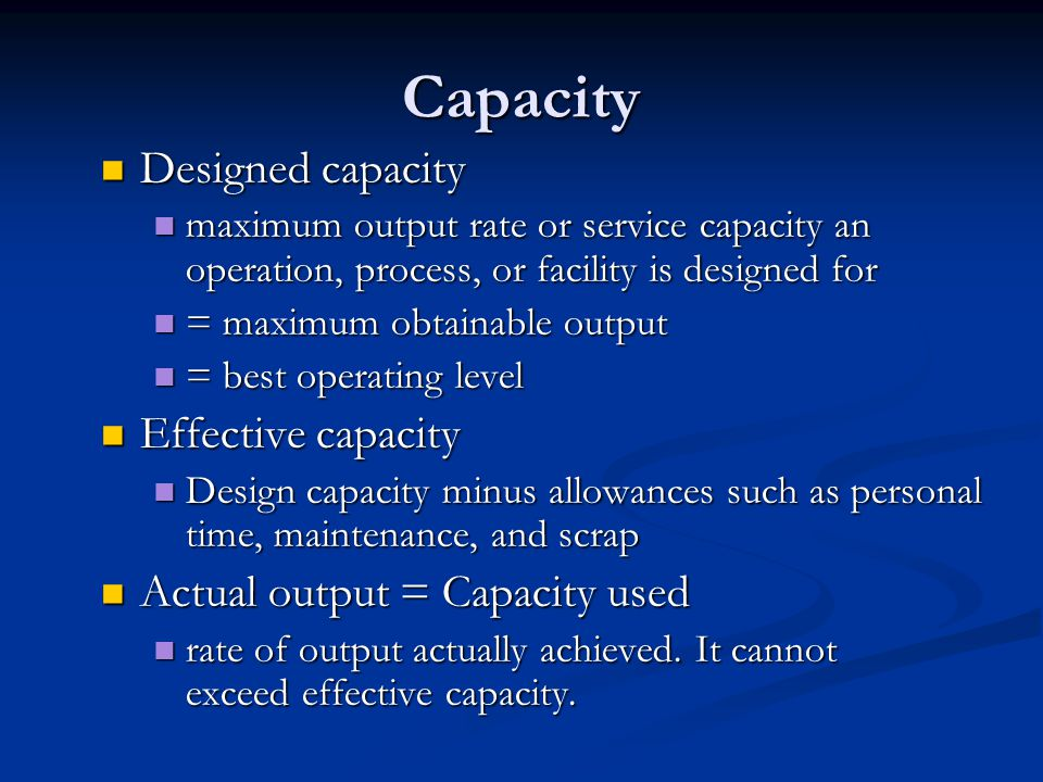 Capacity Designed capacity Effective capacity