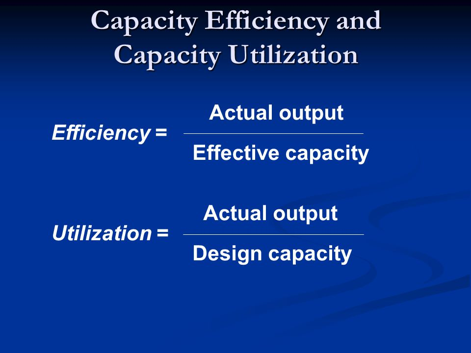 Capacity Efficiency and Capacity Utilization