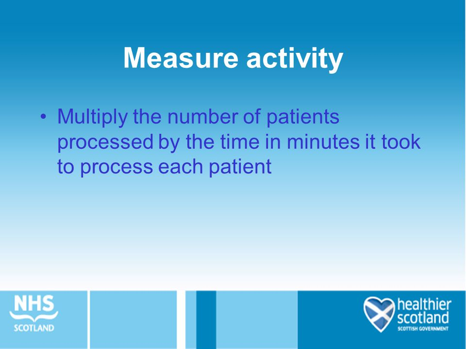Measure activity Multiply the number of patients processed by the time in minutes it took to process each patient.