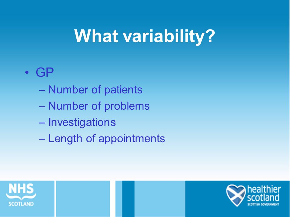 What variability GP Number of patients Number of problems