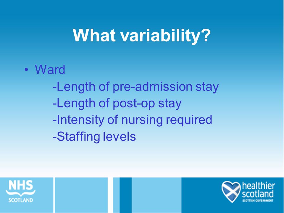 What variability Ward -Length of pre-admission stay
