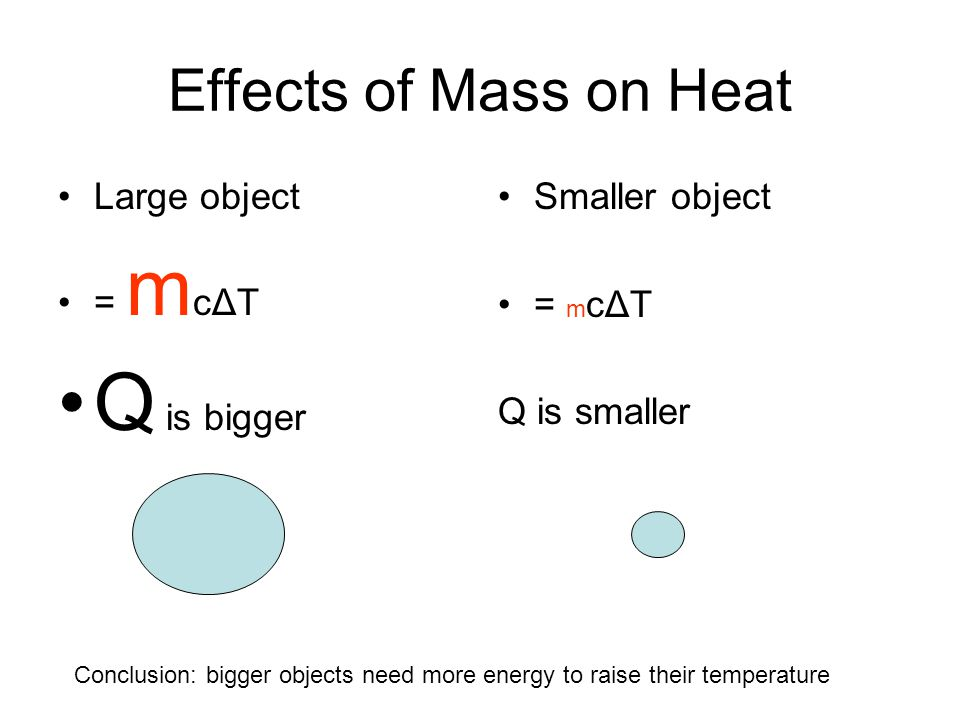 Q is bigger Effects of Mass on Heat Large object = mcΔT Smaller object