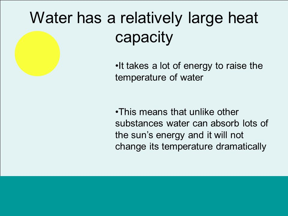 Water has a relatively large heat capacity