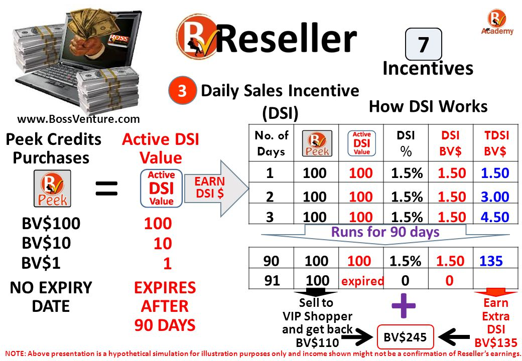 = + 7 Incentives 3 Daily Sales Incentive (DSI) How DSI Works
