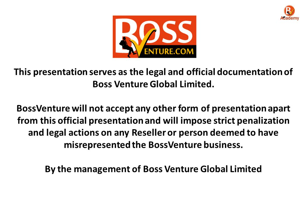 This presentation serves as the legal and official documentation of