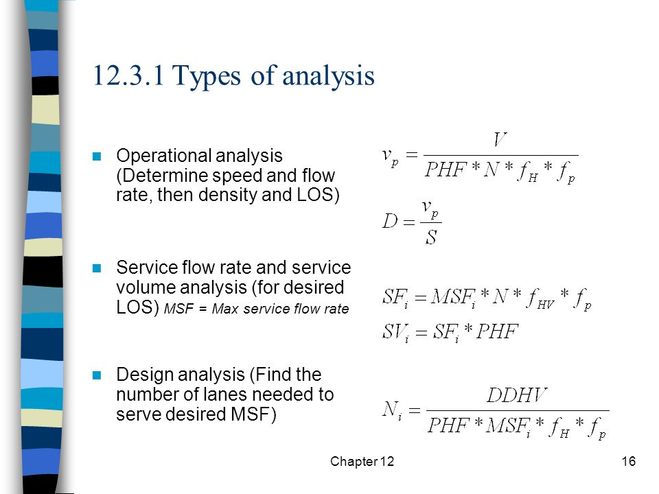 12.3.1 Types of analysis Operational analysis (Determine speed and flow rate, then density and LOS)