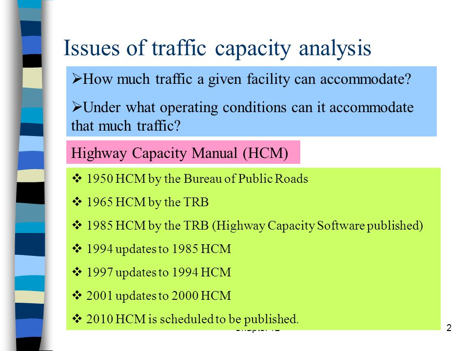 Issues of traffic capacity analysis