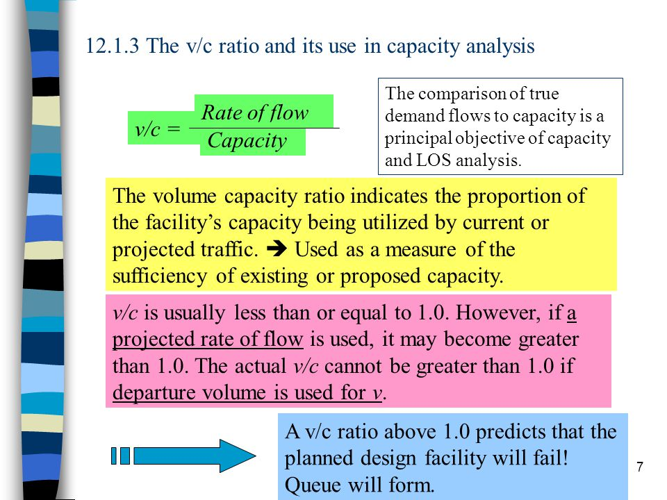 12.1.3 The v/c ratio and its use in capacity analysis