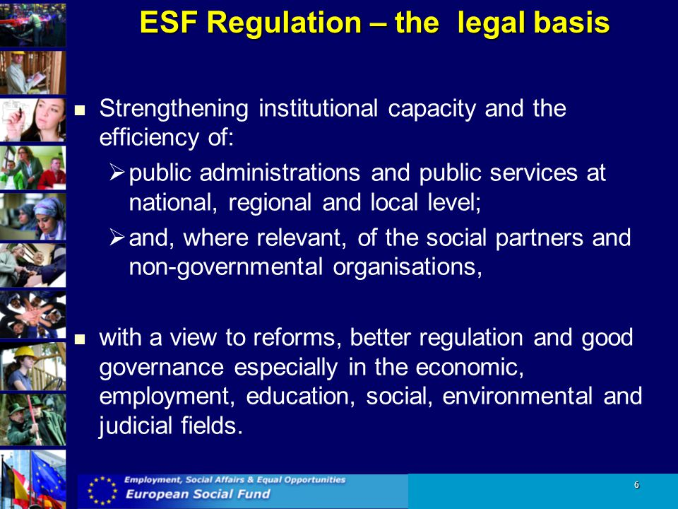 ESF Regulation – the legal basis