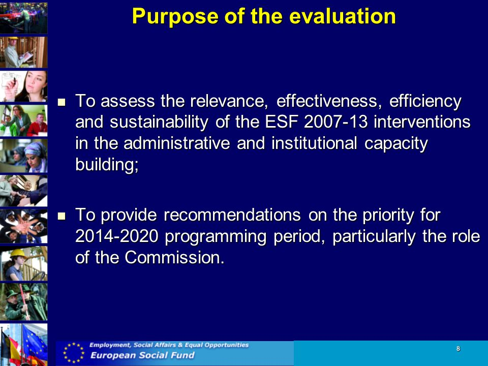 Purpose of the evaluation