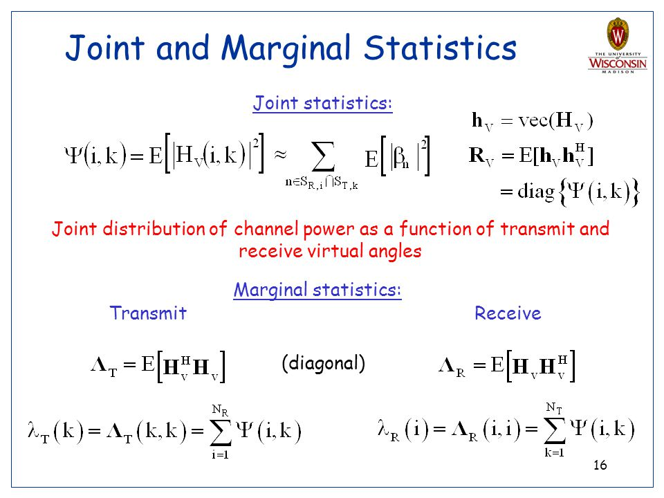Joint and Marginal Statistics