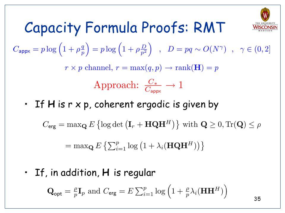 Capacity Formula Proofs: RMT