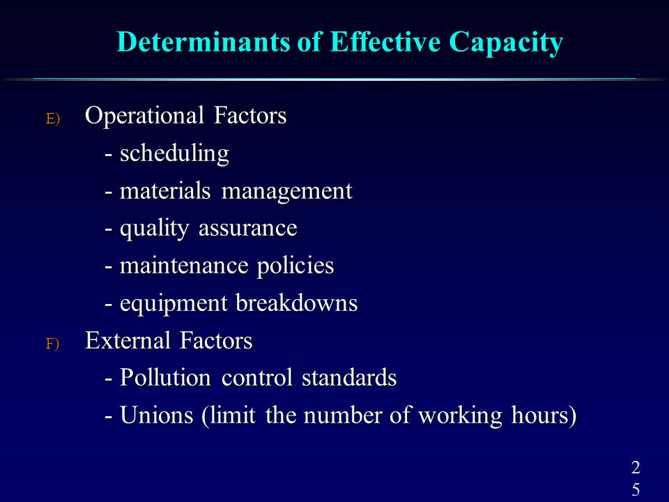 Factors which influence the frequency of capacity decisions