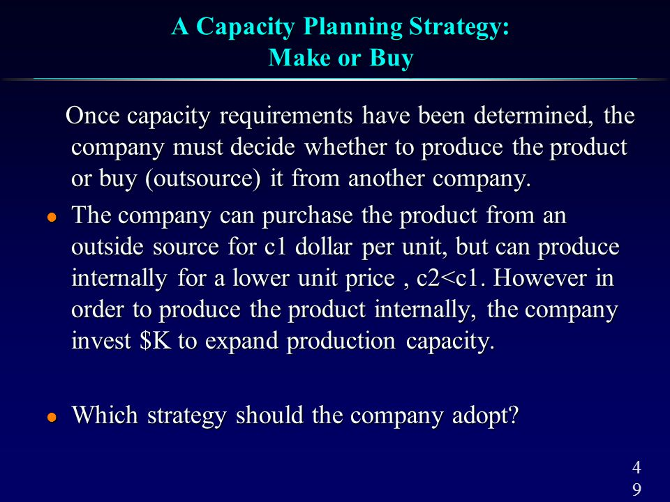Make or Buy: Capacity Expansion Problem