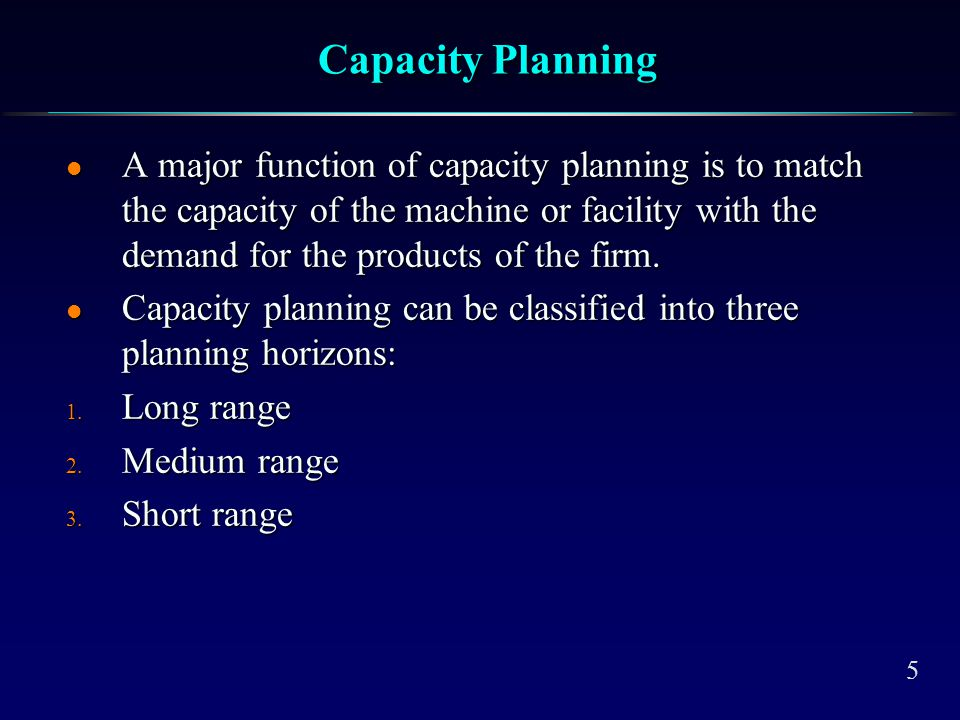 Long-Term Capacity Planning