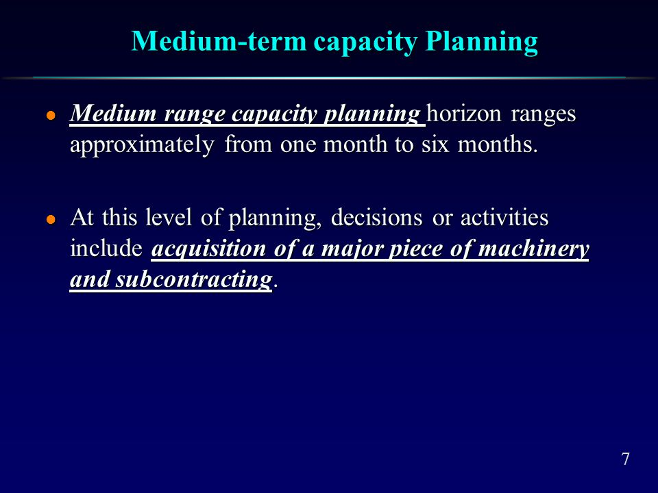 Short-term Capacity Planning