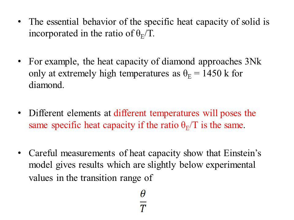 The essential behavior of the specific heat capacity of solid is incorporated in the ratio of θE/T.