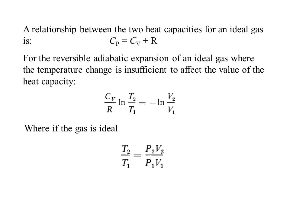A relationship between the two heat capacities for an ideal gas is: CP = CV + R
