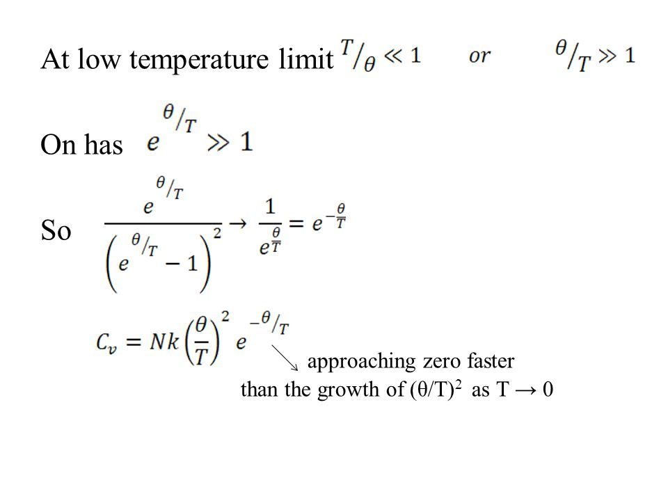 At low temperature limit On has So approaching zero faster than the growth of (θ/T)2 as T → 0