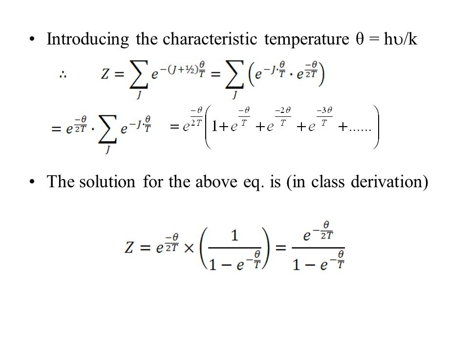 Introducing the characteristic temperature θ = h/k