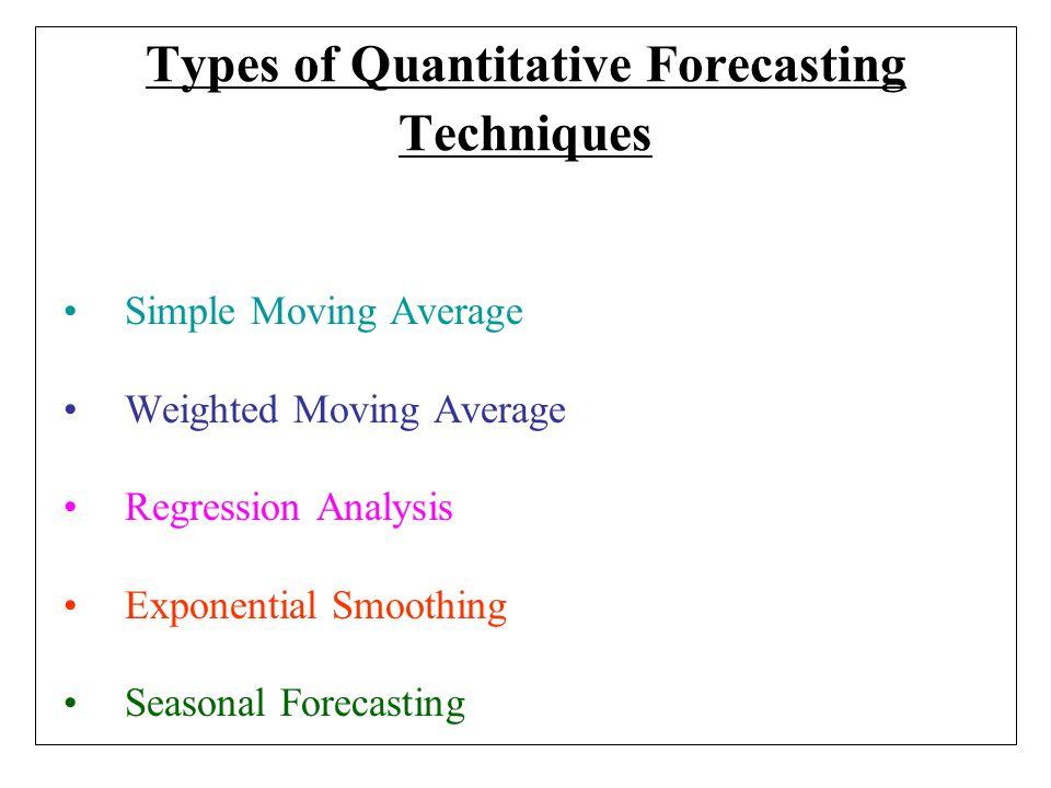 Types of Quantitative Forecasting Techniques