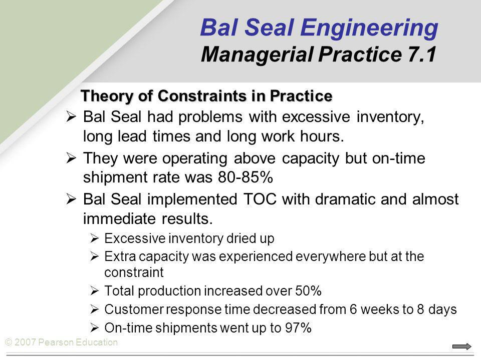 Bal Seal Engineering Managerial Practice 7.1
